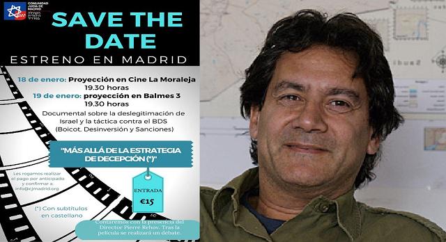 Las comunidades judías de Madrid y Barcelona presentan un documental para desmontar el BDS, con su director Pierre Rehov