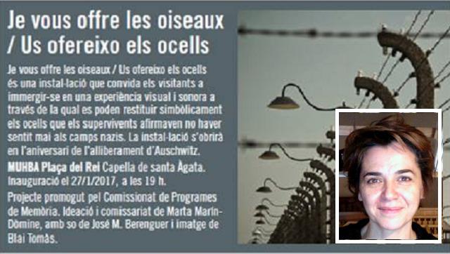 """Instalación """"Je vous offre les oiseaux"""" sobre Auschwitz, con su autora Marta Marín-Dòmine"""