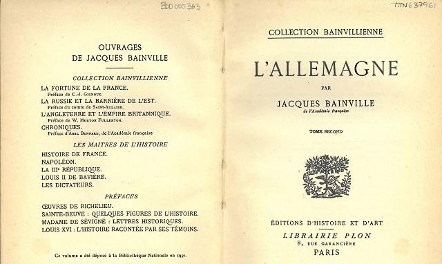 """""""L'Allemagne"""", de Jacques Bainville"""