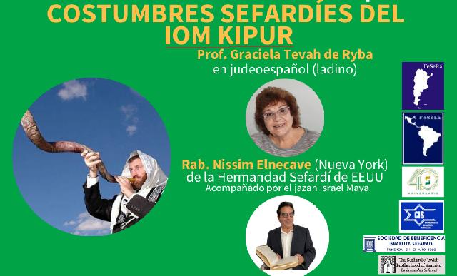Costumbres sefardíes del Yom Kipur (online, 22/9/2020)