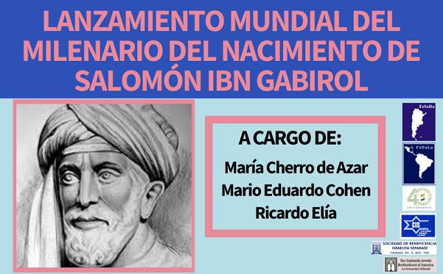 Lanzamiento mundial del milenario del nacimiento de Salomón Ibn Gabirol (online, CIDICSEF, 13/1/2021)
